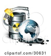 Clipart Illustration Of A Yellow Petrol Nozzle Dripping Oil Over The Earth In Front Of A Barrel Of Gas