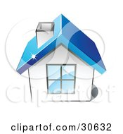 Clipart Illustration Of A Little White House With A Big Window Chimney And Blue Roof by beboy