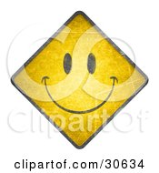 Happy Face On A Yellow Warning Road Sign