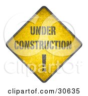 Clipart Illustration Of A Yellow Warning Under Construction Sign