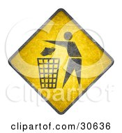 Clipart Illustration Of A Yellow Warning Sign With A Person Tossing Garbage In A Trash Can