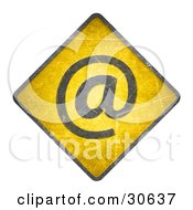Yellow Warning Sign With An Email Arobase Symbol