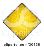 Blank Yellow Warning Sign With Rivet Holes In Each Corner
