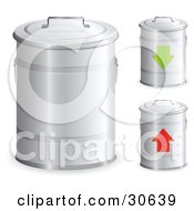 Clipart Illustration Of A Set Of Three Metal Trash Bins With Handles On The Lids One With A Green Arrow And One With A Red Arrow by beboy