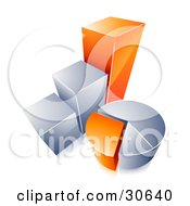 Clipart Illustration Of An Orange And Chrome Bar Graph And Pie Chart