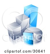 Clipart Illustration Of Blue And Chrome Bar Graphs And Pie Charts