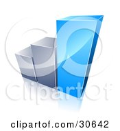 Clipart Illustration Of A Bar Graph With Growing Blue And Chrome Bars by beboy