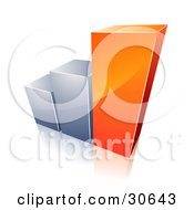 Clipart Illustration Of A Bar Graph With Growing Orange And Chrome Bars