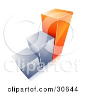 Clipart Illustration Of A Growing Bar Graph With Two Chrome Bars And One Orange Bar