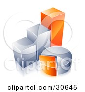 Clipart Illustration Of Orange And Chrome Bar Graphs And Pie Charts
