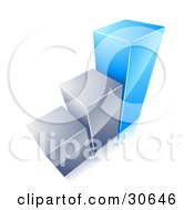 Clipart Illustration Of A Growing Bar Graph With Two Chrome Bars And One Blue Bar by beboy
