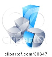Clipart Illustration Of A Blue And Chrome Bar Graph And Pie Chart