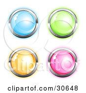 Clipart Illustration Of A Set Of Four Blue Green Orange And Pink Round Icon Buttons Circled In Chrome by beboy