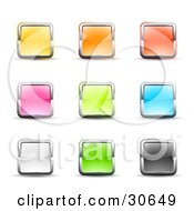 Clipart Illustration Of A Set Of Nine Yellow Pink White Orange Green Red Blue And Black Square Button Icons Bordered In Chrome