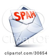 Clipart Illustration Of A White Envelope With Spam Email Inside by beboy