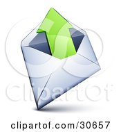 Clipart Illustration Of A White Envelope With A Green Arrow Pointing Out by beboy