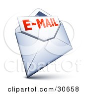 Clipart Illustration Of A White Envelope With An Email Inside by beboy