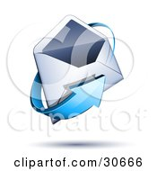 Clipart Illustration Of A Blue Arrow Circling An Open White Envelope by beboy