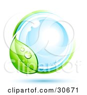 Clipart Illustration Of A Dewy Green Vine Circling Around A Shiny Blue Orb