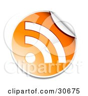 Clipart Illustration Of A Peeling Orange And White Round RSS Sticker