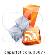 Rss Symbol And Orange And Chrome Bar Graph