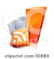 Clipart Illustration Of An Orange And Chrome Growing Bar Graph With An RSS Symbol by beboy