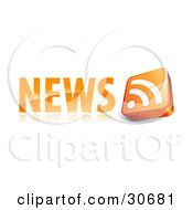 3d Orange Rss Symbol To The Right Of A News Site Icon