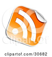 Clipart Illustration Of A Peeling Orange And White RSS Sticker