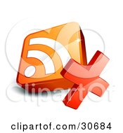 Clipart Illustration Of A Red X In Front Of An Orange 3d RSS Symbol by beboy