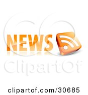 Clipart Illustration Of An Orange News Site Icon With A 3d RSS Symbol by beboy