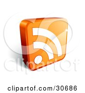 White Rss Symbol On A Standing Orange 3d Square