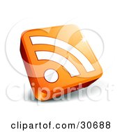 Clipart Illustration Of A White RSS Symbol On An Orange 3d Square by beboy