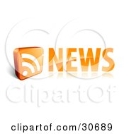 Clipart Illustration Of An Orange News Site Icon With An RSS Symbol by beboy