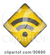 Clipart Illustration Of A Yellow Warning RSS Blogging Symbol Sign by beboy