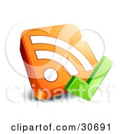 Clipart Illustration Of A Green Check Mark In Front Of An Orange 3d RSS Symbol by beboy