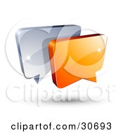 Clipart Illustration Of A 3d Orange Chat Box In Front Of A Blue Speech Balloon