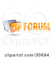 3d Orange Chat Box With Three Dots In Front Of A Blue Speech Balloon To The Left Of A Forum Link