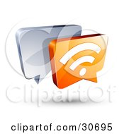3d Orange Rss Chat Box In Front Of A Blue Speech Balloon