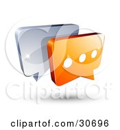 3d Orange Chat Box With Three Dots In Front Of A Blue Speech Balloon