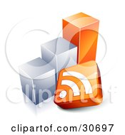 Clipart Illustration Of An RSS Symbol In Front Of An Orange And Chrome Bar Graph