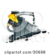 Clipart Illustration Of A Dripping Yellow Gasoline Pump Nozzle Emerging From A Declining Bar Graph