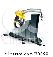 Clipart Illustration Of A Dripping Yellow Petrol Pump Nozzle Emerging From A Black Increasing Bar Graph