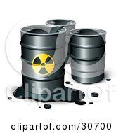 Clipart Illustration Of A Leaking Barrel Of Petrol In Front Of Two Unmarked Barrels