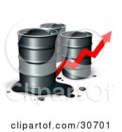 Clipart Illustration Of Three Unmarked Barrels Of Oil One With A Spill And A Red Arrow Showing An Increase Of Gasoline Consumption Or The Rise In Cost