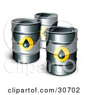 Three Petrol Barrels Of Gasoline With Oil Symbols