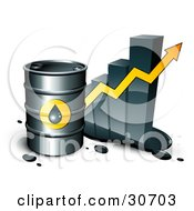 Clipart Illustration Of A Barrel Of Gasoline And Yellow Arrow In Front Of A Bar Graph Depicting A Steady Incline