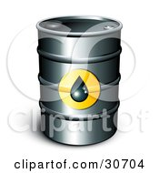 Clipart Illustration Of A Single Barrel Of Gasoline With A Droplet Icon On The Front