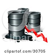 Clipart Illustration Of Three Unmarked Barrels Of Oil With A Spill And A Red Arrow Showing A Decrease Of Gasoline Consumption Or In Cost