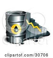 Clipart Illustration Of A Barrel Of Gasoline And Yellow Arrow In Front Of A Bar Graph Depicting A Steady Decline