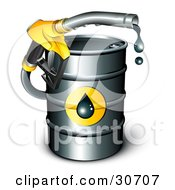 Yellow Petrol Nozzle Emerging From A Barrel Of Gasoline Dripping Oil